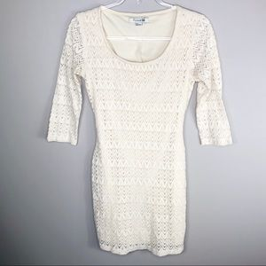 Forever 21 White Lace Knit Body Con Dress